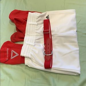 Adidas baseball pants, red adjustable belt & socks
